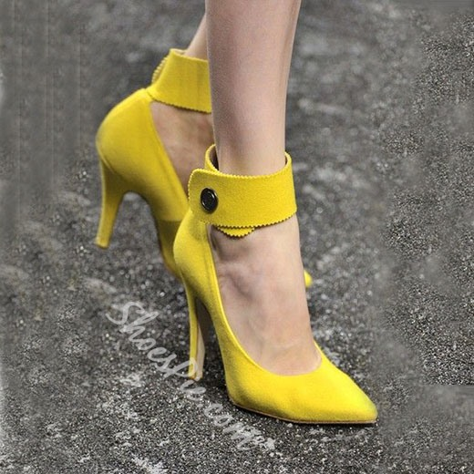 Shoespie Chic Yellow Ankle Wrap Stiletto Heels