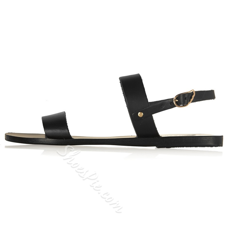 Shoespie Simple Black Flat Sandals