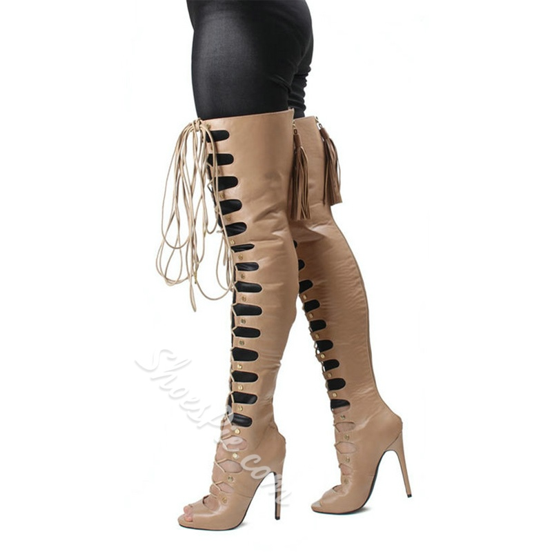 Shoespie Lace Up Zipped Thigh High Sandal Boots