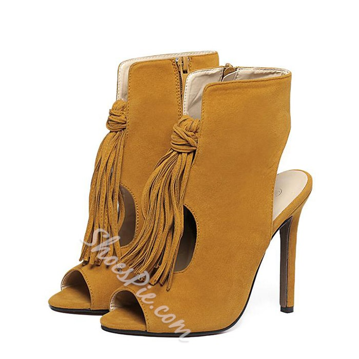 Shoespie Suede Fringes Sandals
