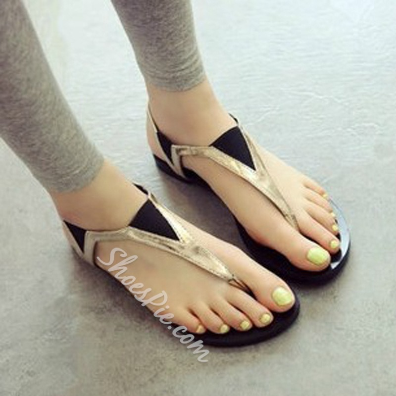 Shoespie Black and Golden Thong Flat Sandals