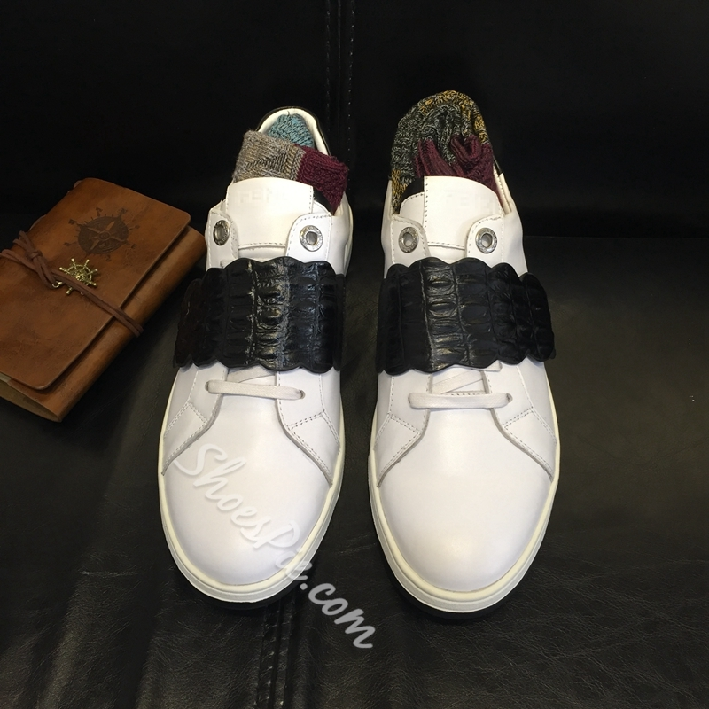 Shoespie Black and White Patchwork Men's Sneakers