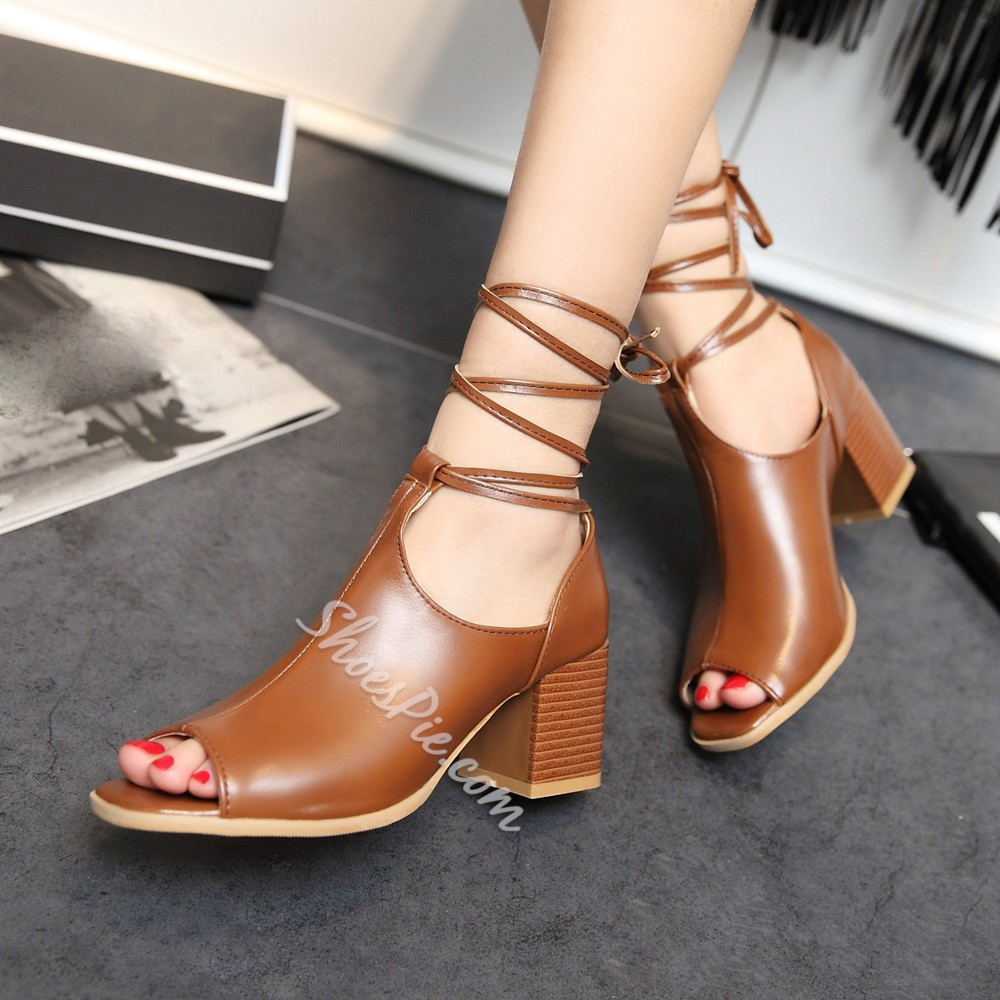 Shoespie High Quality Chunky Heel Lace Up Shoes