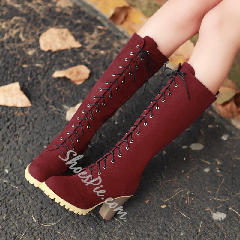 Concise & Comfortable Lace-up Chunky Heels Boots