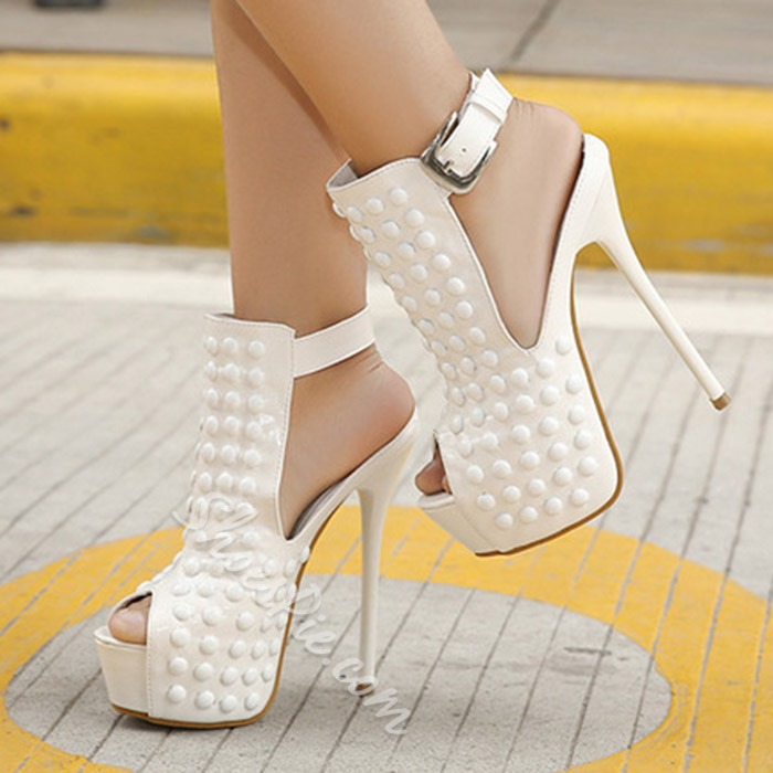Shoespie Peep Toe Flat Rivets Platform Sandals