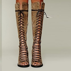 Shoespie Knee High Lace Up Gladiator Sandals