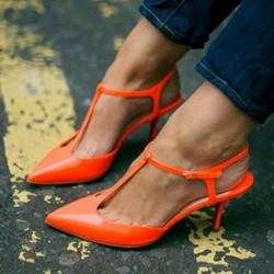 Shoespie Night Club Passionate Orange Kitten Slingbacks