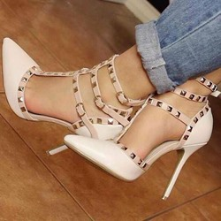 Shoespie Stylish Nude Rivets Stiletto Heels