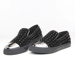 Shoespie Black Flat Spikes Men's Sneakers