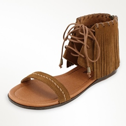 Shoespie Fringes Ankle Wrap Lace Up Flat Sandals