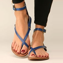 Blue Normcore Clip Toe Flat Sandals
