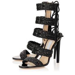 Shoespie Woven Lace Up Sandals