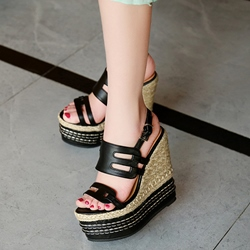 Shoespie Threading Rattan Grass Wedge Sandals