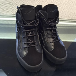 Shoespie Black Side Zipper Men's Sneakers