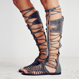 Shoespie Suede Lace Up Gladiator Sandals