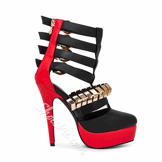 Shoespie Contrast Color Platform Stiletto Heels