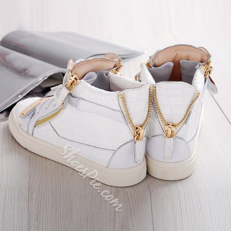 Shoespie White Embossed Sneakers
