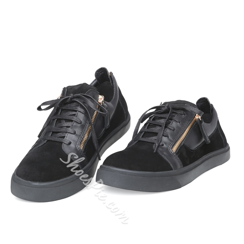 Shoespie Black Low Upper Men's Sneakers