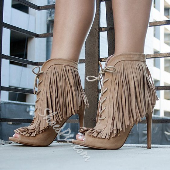 Shoespie Fringes Sandal Boots