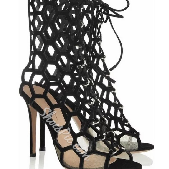 Shoespie Black Hexagonal Cage Sandals
