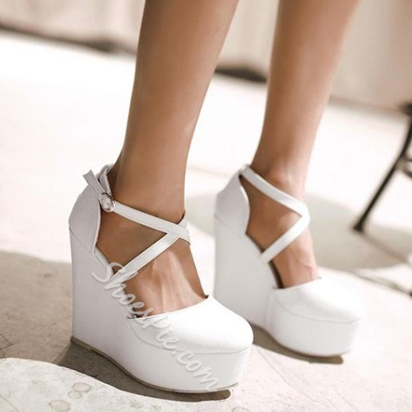 Shoespie Night Club Solid Color Wedge Heels
