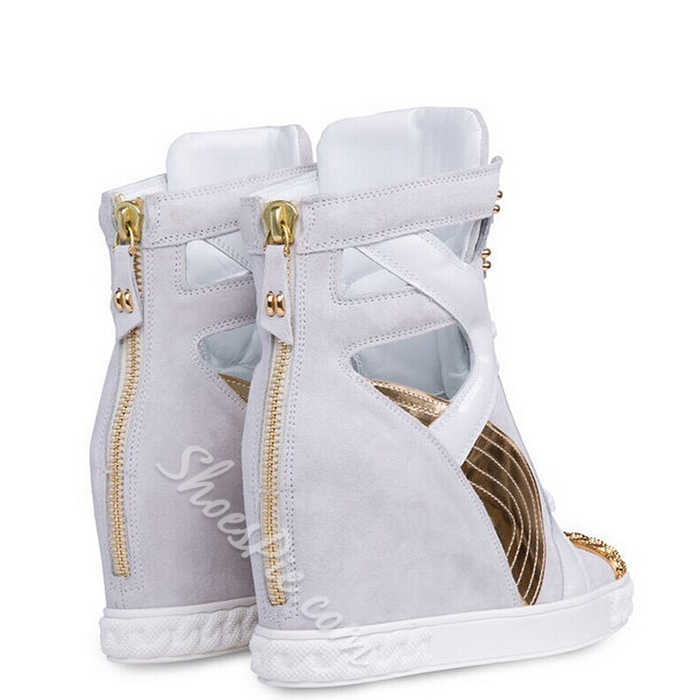 Shoespie White Cutout Elevated Sneakers