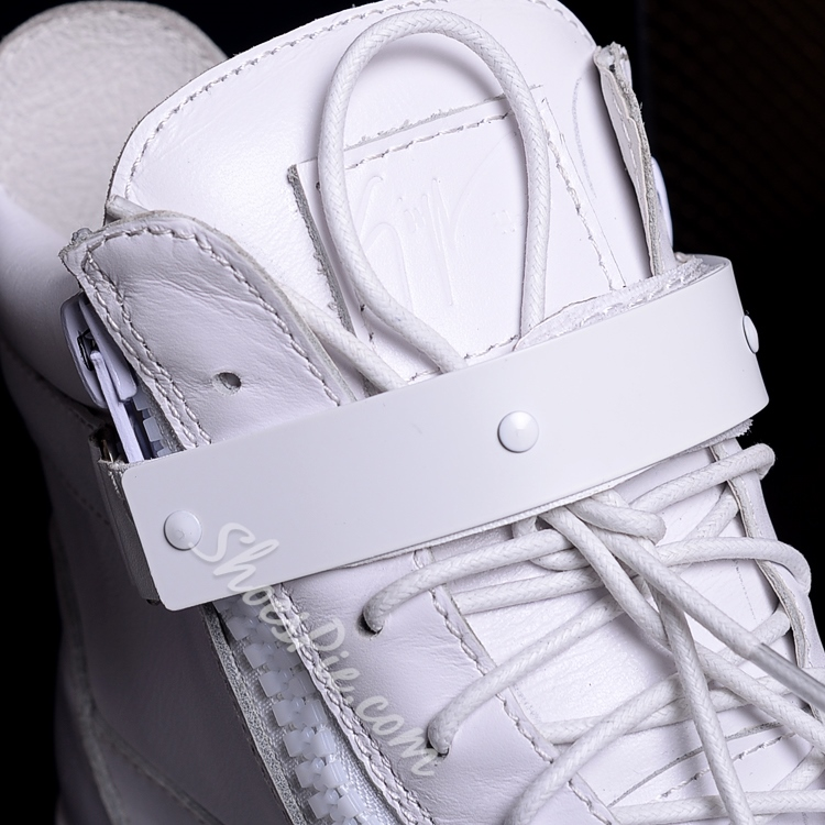 Shoespie High-Cut Upper Zipper White Men's Sneakers