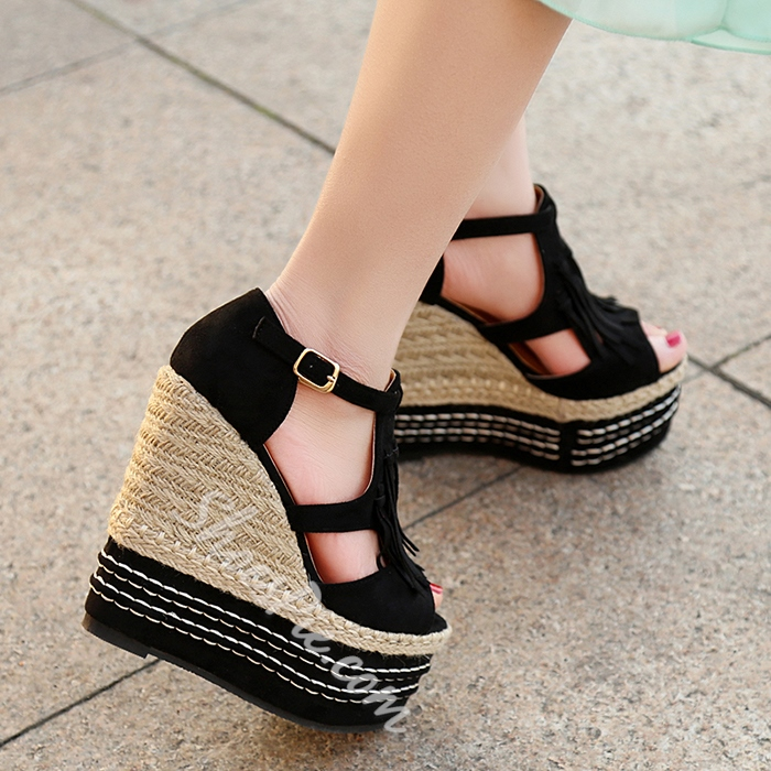 Shoespie Peep Toe Rattan Grass Wedge Sandals