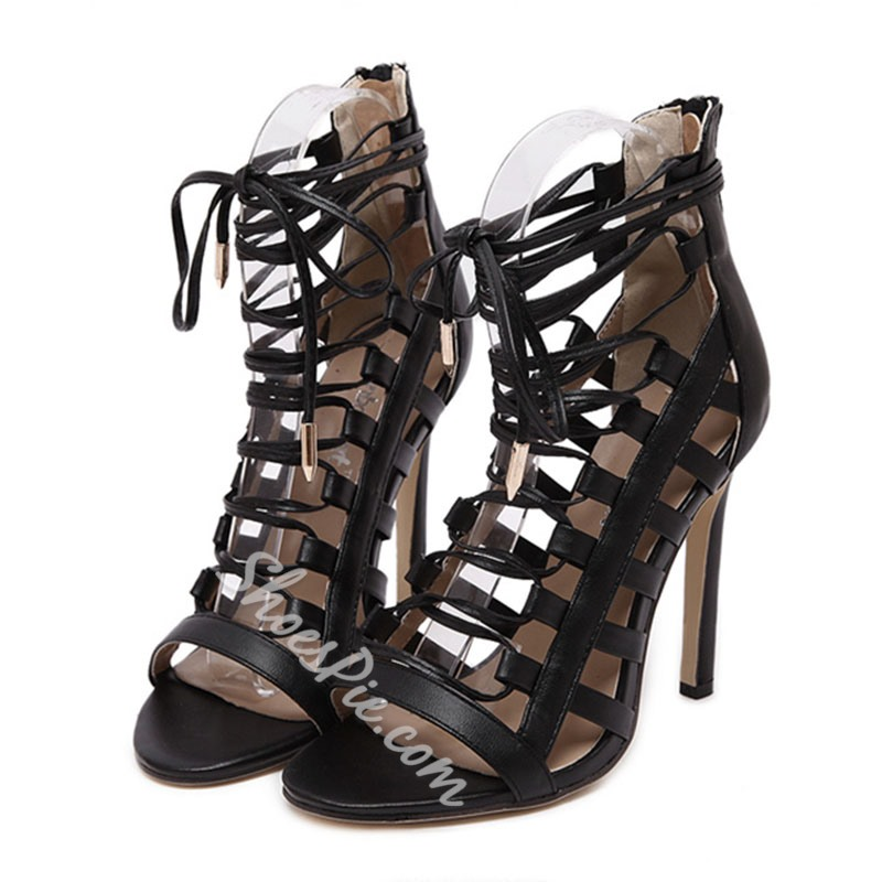 Shoespie Lace Up Cutout Sandals