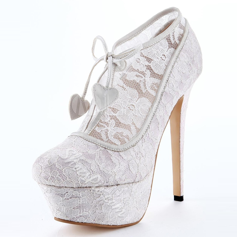Shoespie Pure White Lace Platform Heel Ankle Boots