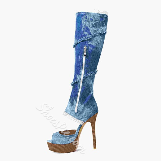 Shoespie Sexy Denim Flower Print Knee High Boots