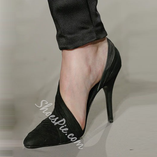 Shoespie Essential Black Stiletto Heel D'orsay