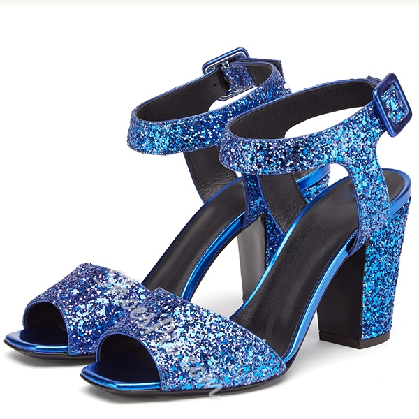 Shoespie Blue Sequined Chunky Heel Sandals