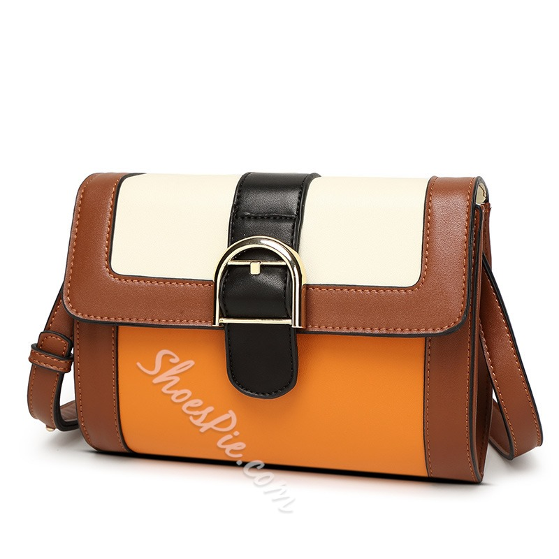 Shoespie High Quality Color Block Buckle Crossbody Bag