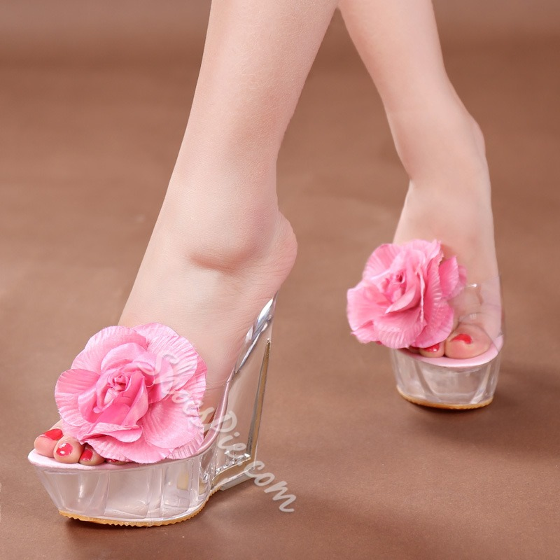 Shoespie Casual Flower Embellished Wedge Heel Mule Shoes