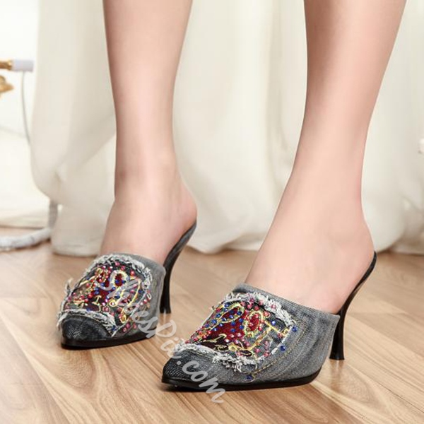 Shoespie Denim Jewelled Mules Shoes