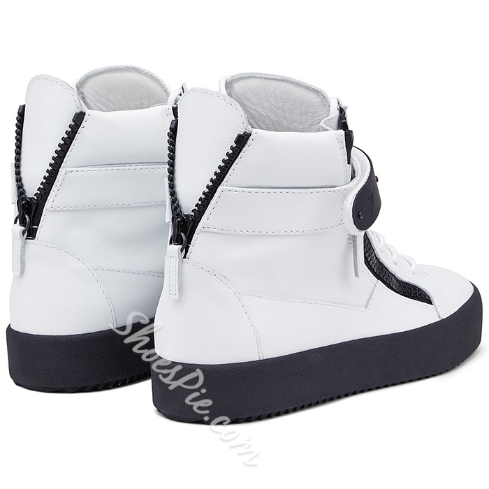 Shoespie White and Black Zipper Men's Sneakers