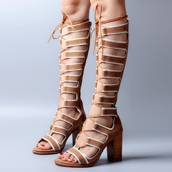 Shoespie Lace Up Wooden Heel Gladiator Sandals