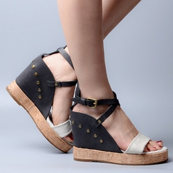 Shoespie Color Block Wooden Wedge Sandals