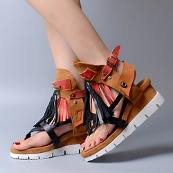 Shoespie Contrast Color Flat Sandals