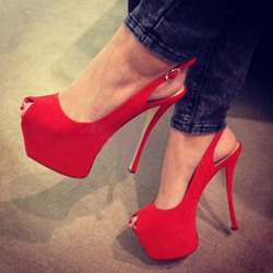 Shoespie Smart Red Peep Toe Slingback Platform Heels