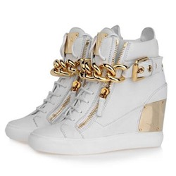 Shoespie Gold Chains Wedge Heel Sneakers