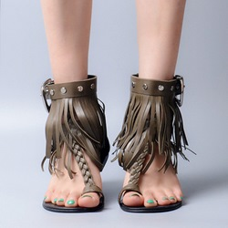 Shoespie Genuine Leather Fringes Clip Toe Flat Sandals