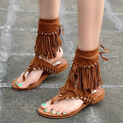 Shoespie Fringes Thong Gladiator Flat Sandals