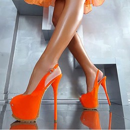 Shoespie Gorgeous Night Club Orange Platform Heels