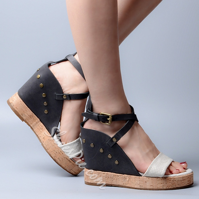 Shoespie Color Block Wooden Wedge Sandals Shoespie