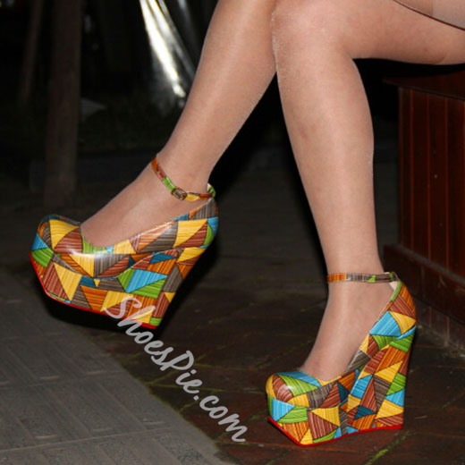 Shoespie Classy Color Block Wedge Heels Shoespie