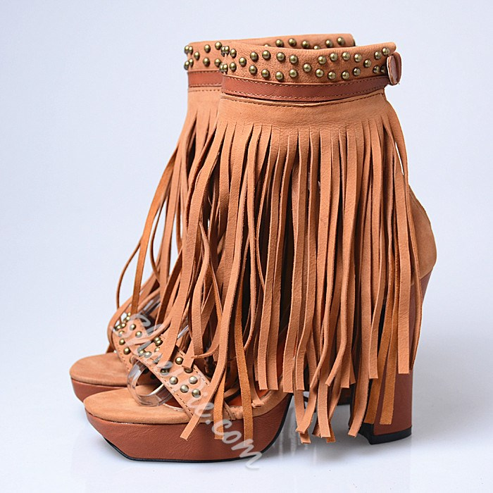 Shoespie Thick Tassels Platform Sandals