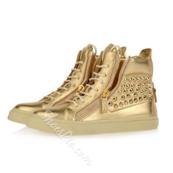 Shoespie Golden Rivets Men's Sneakers
