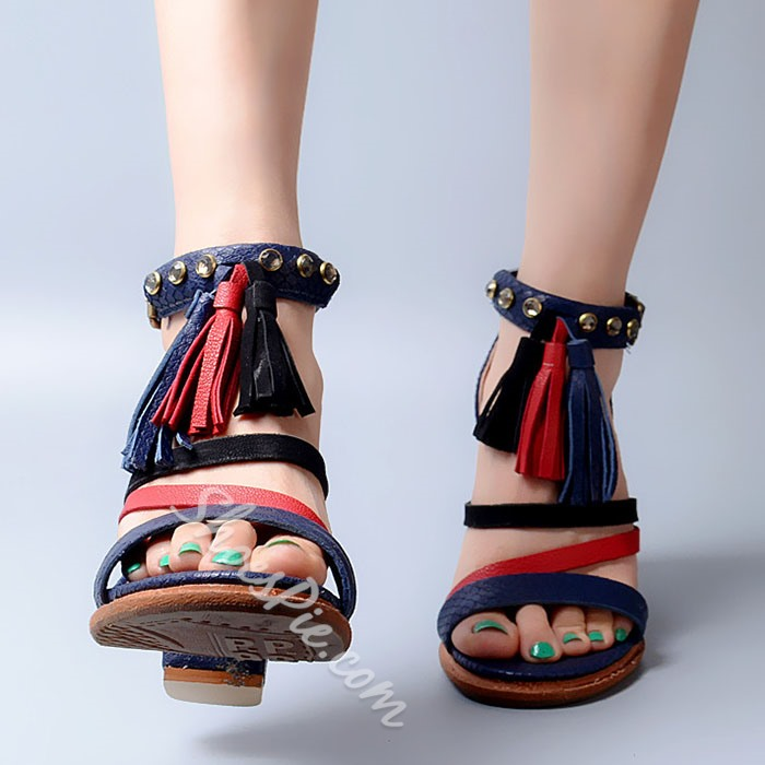 Shoespie Contrast Color Tassels Sandals